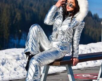 Womens Skisuit Snowsuit Outfit Outwear Shine Nylon Gloss Jacket Pants Silver nylon Wet Look Anzug Damen Glanznylon Skianzug Skioverall