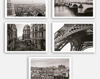 Paris Prints, Paris Posters Set, Paris Wall Art, Retro Art, Retro Decor, Paris Art, Black and White, Paris Photography, Paris Postcards Set