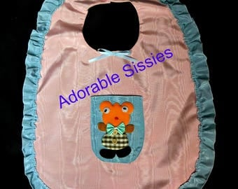 ABDL dress up bib in Pink with blue trim moire taffeta - adult sissy baby.