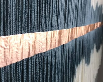 Metallic Detailing | Dip Dyed Tapestry | Fiber Art | Wall Hanging | Bohemian Decor