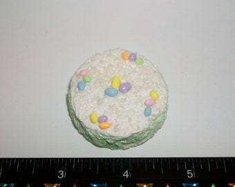 1:6 Play Scale Dollhouse Miniature Handcrafted Easter Egg Coconut Dessert Cake - food for the dollhouse