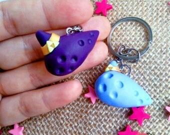 Keychain inspired ocarina, Zelda, The legend of Zelda, Polymer clay