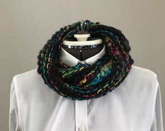 Black bouclé infinity scarf