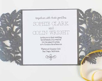 Sophisticated wedding invitation, floral wedding invitation