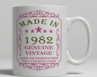 35th Birthday mug, 1982 Birthday mug, 35th Birthday Gift idea, 35th Birthday Idea, 35 mug,born 1982, Happy Birthday, coffee mug EB 1982 Rose