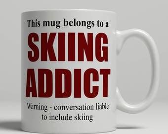 Skiing mug, skier mug, skiing coffee mug, gift for skier coffee mug, gift for skiing gift idea, skier gift idea, EB addict skiing