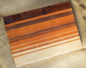 Handmade wood cutting board - cherry, walnut, & maple striped serving board cheese plate custom size wedding gift kitchen gift for cook