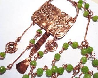 Necklace in copper and pearls of moldavide