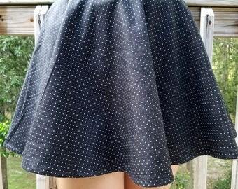 Polka Dot Circle Skirt - Skater Skirt - All Sizes Available - Many Colors to Choose From: Red, Black, Yellow, Blue Polka Dot Skater Skirt