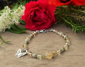 Green Garnet and citrine Butterfly silver charm bracelet
