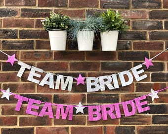 TEAM BRIDE Hen party Engagement banner Engagement Party Decoration. Wedding party bridal shower decoration bride to be hen do decoration