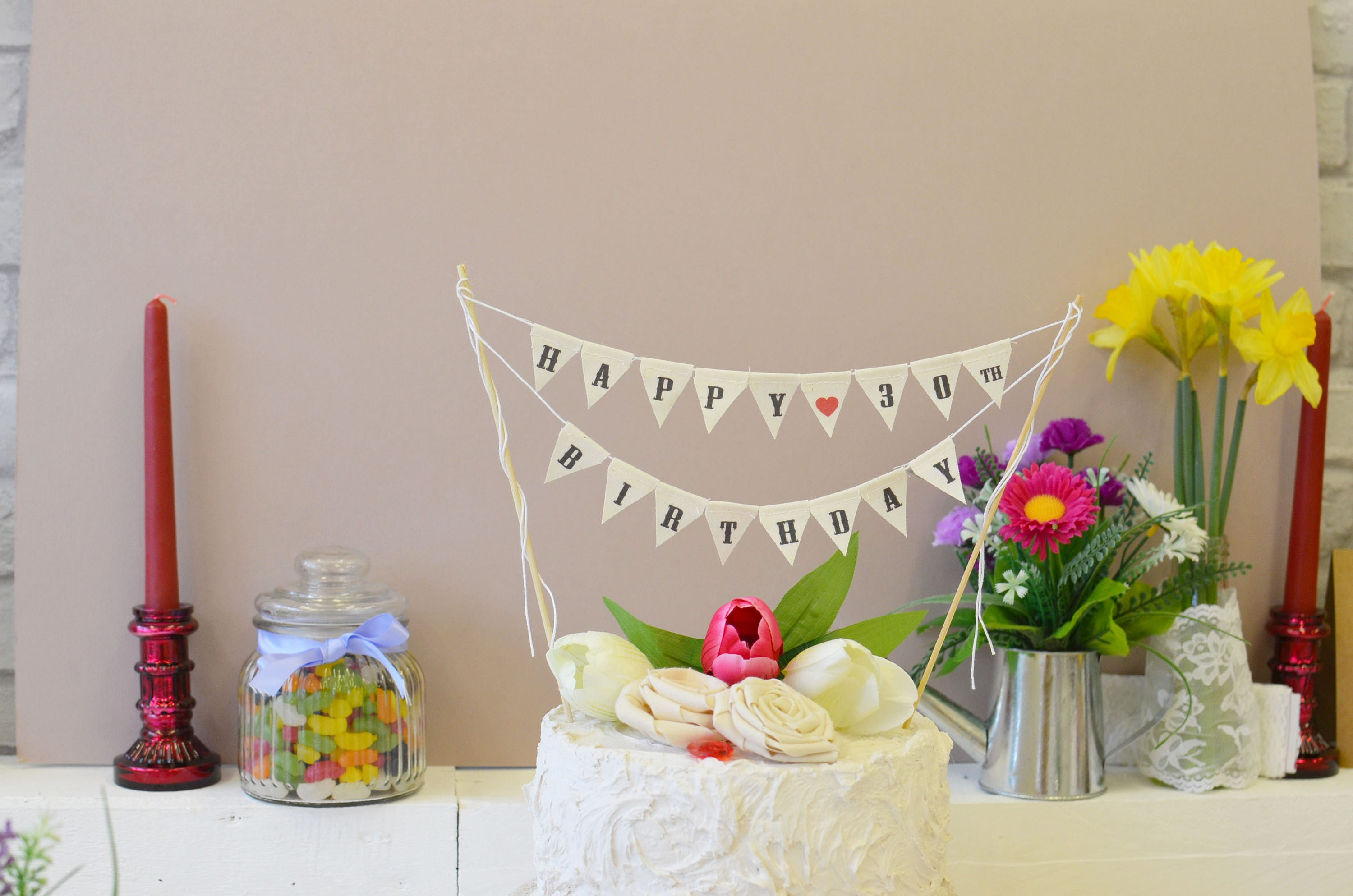 Happy 30th Birthday Cake Topper Mini bunting Cake Topper Party