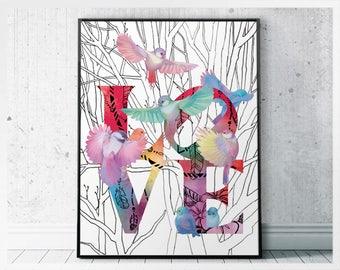 Love Sign Printable, Boho Decor Ideas, Flock of Birds Flying Poster, Positive Wall Art, Printable Boho Art, Decor Above Bed