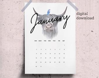 January Calendar Page 2018 Desk Calendar Printable with Scottish Cow Drawing, January Printable Animal Theme, Dawnload January Wall Calendar