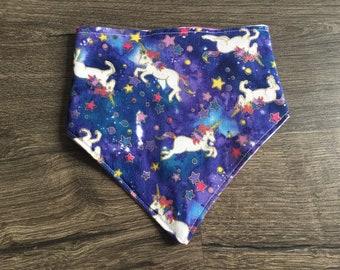 Galaxy Unicorns - Reversible and Customizable Bandana - Handmade Bandana - Dog Bandana - Cat Bandana - Unique Pet Accessory