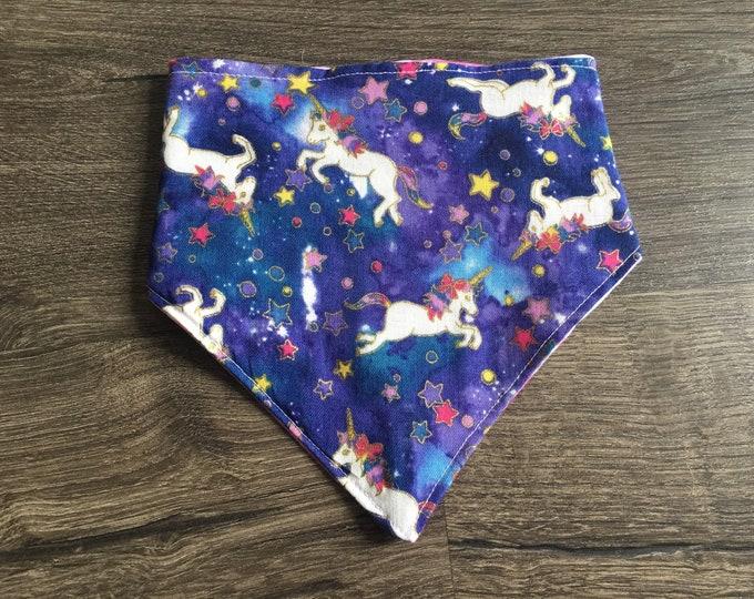 Featured listing image: Galaxy Unicorns - Reversible and Customizable Bandana - Handmade Bandana - Dog Bandana - Cat Bandana - Unique Pet Accessory