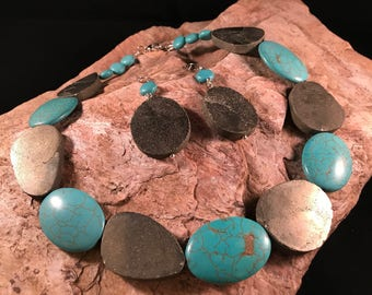 Pyrite and Turquoise  statement Necklace and Earrings
