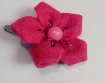 Pink sequined flower girl hair clip