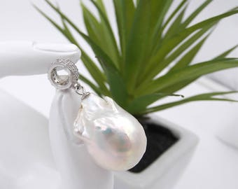 Freshwater Pearl Necklace pendant-necklace bridesmaids-wedding jewelry-pendant in Silver 925 with Pearl and Zircons