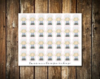 Baking - Cute Blonde Girl - Functional Character Stickers