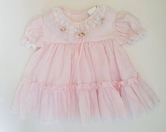 Vintage Girls Dress with Lace Detail and Rosettes - Children's Size 3-6 mos