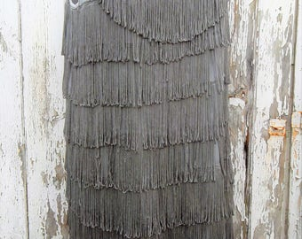 Vintage 80s do 20s Grey Tiered Fringed Tassel Flapper Dress  Size  S UK 10 US 8