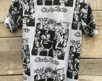 Vintage rare circle jerks full print punk metal band 90s t shirt american hadcore black flag