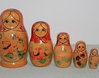 Nesting Dolls, Vintage Russian Nesting Dolls, Babushka, Matryoshka, Set Of 5, 1960's Vintage Russian Nesting Dolls, Stamped Nesting Dolls
