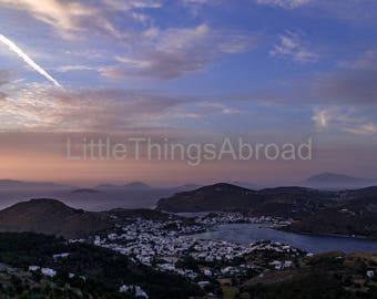 Patmos landscape photo print on canvas, Greek island, Greece, view, sunset, beautiful sky, travel photography, printable digital art, giclee