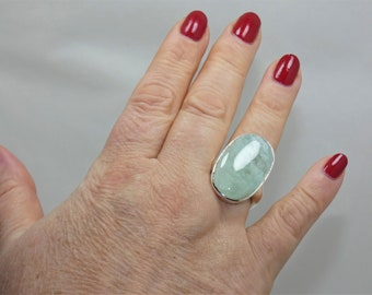 Natural Aquamarine  925 Sterling  Silver Ring
