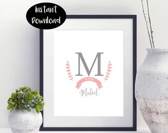 Monogram print ,nursery printable ,printable wall decor, Floral Monogram Art Digital Download INSTANT DOWNLOAD