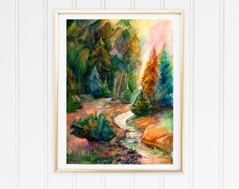 In trend  Emerald green taveller gift green Forest landscape wall print Blue forest print Pine trees art print Green trees summer print