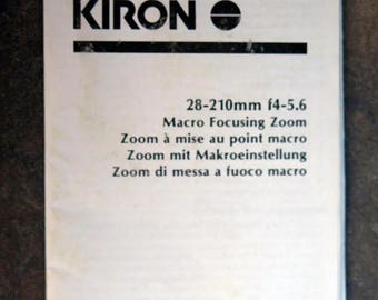 Kiron 28-210mm f3.8-5.6 Macro Focusing Zoom Lens Instruction Manual