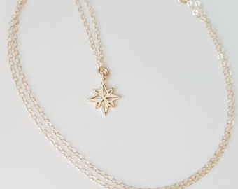 14k Gold Filled Polaris Necklace - Gold Filled North Star - Astronomy Necklace- Gold Snowflake Charm- Little Star Charm - Valentine's Day