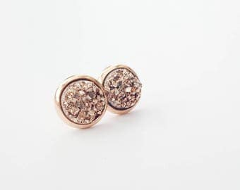 Rose Gold Druzy Earrings - Druzy Jewelry - Druzy Stud Earrings - Rose Gold Jewelry - Bridesmaid Gift - Bridesmaid Earrings- Faux Druzy