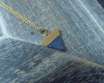 Lapis lazuli and gold triangle necklace