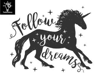 Unicorn Temporary Tattoo Unicorn Tattoo Unicorn Fake Tattoo Motivational Quote Tattoo Follow Your Dreams Tattoo Inspirational Tattoo