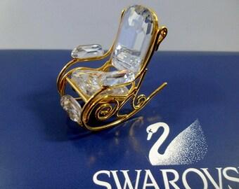SWAROVSKI Crystal Memories-Rocking Chair Gold-Swarovski Gold Plated-Vintage Crystal Rocking Chair-Swarovski Crystals-Silver Bay Crystals