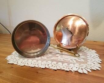 Vintage Copper Sauce Pot Frying Pan