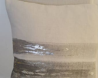 Handpainted dove grey linen cushion with silver acents