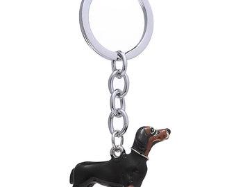 3D Dog Keychain Car Key Chain Ring Black Enamel Alloy Animal Dachshund Pet Key Chain Key Holder Women