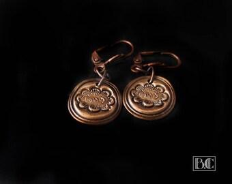 Copper lotus earrings