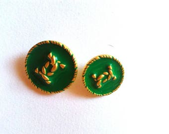 Chanel Green and Gold buttons, vintage in groups of 7 or 5 pieces