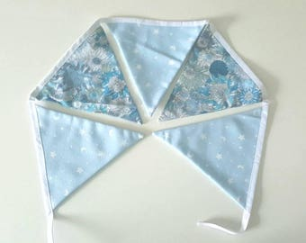 Bunting, liberty and cotton patterned moons and stars, 5 pieces, green and blue
