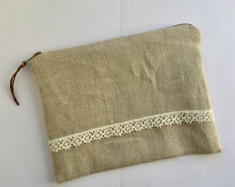 Natural linen - lace - lined Liberty pouch