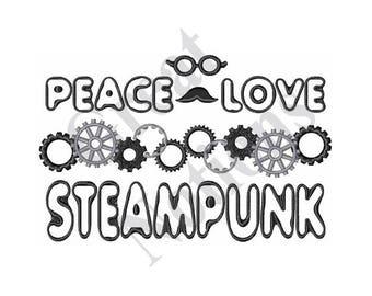 Peace Love Steampunk - Machine Embroidery Design