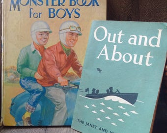 Two Vintage English Children's Books from 1940's // Early century Janet & John book // Monster Book For Boys // great prop for nursery