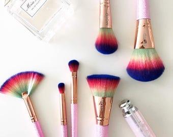 6 Pieces Rainbow Makeup Brushes Set