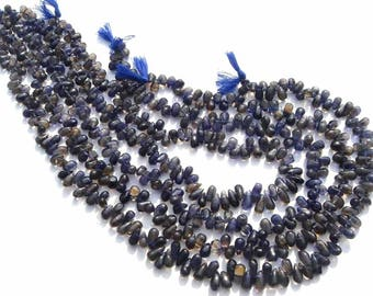 Drops Smooth Beads In Iolite Beads, Quality C, 4x6.50 to 4.50x9.50 mm, 36 cm, 104 pieces, IO-048/1, Semiprecious Gemstone Beads