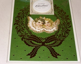 Christmas Angels Wreath Card